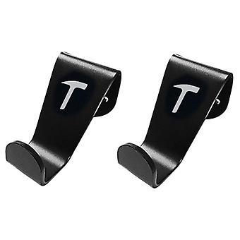 2 X soporte de percha de gancho del reposacabezas del asiento del coche apto para Tesla Modelo 3/s/x (negro)