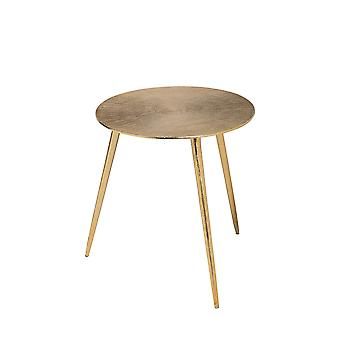 Gold-Toned Cast Aluminum Accent Table with Round Top