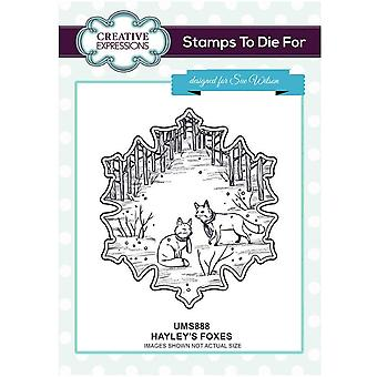 Kreative uttrykk Hayley's Foxes Pre Cut Stamp Co-ords med CED3183