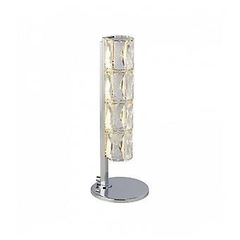 Lámpara De Mesa Led Remy, Barra Kuusikulmainen Tubo, Cromo, Cristal De Embalaje Transparente