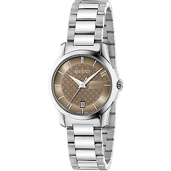 Gucci Ya126526 G-timeless Brown Dial Stainless Steel Ladies Watch