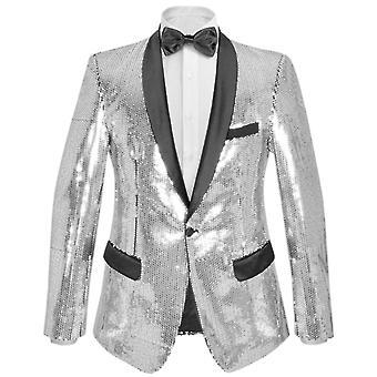 Pánská flitrová večerní bunda Smokingedo Blazer Silver Size 54