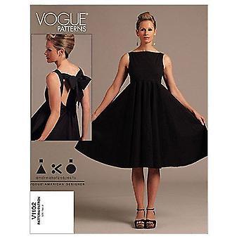 Vogue coser patrón 1102 se pierde la talla del vestido 6-12 diseñador sin cortar