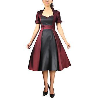 Chic Star Contrast Swing Dress In Burgundy/Black