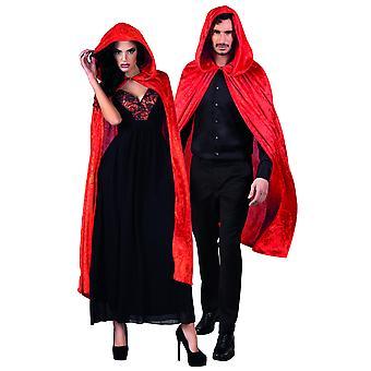 Rode cape fluweel uitziende 120 cm Halloween adule