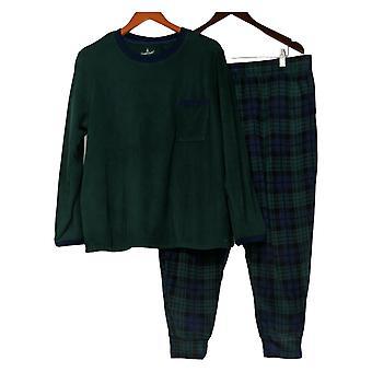 Cuddl Duds Women's Petite Fleecewear Stretch Jogger Pajama Set Green A381826