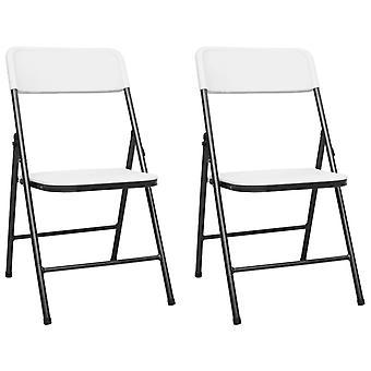 vidaXL Garden Chairs Folding Bar 2 pcs. HDPE White