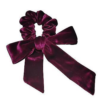 Rød fløjl hoved reb streamer bue knude hår loop høj elastisk slips hår x2355