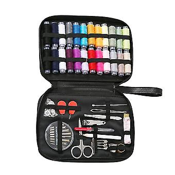 1 Set Of 77pcs Practical Sewing Box Suit Sewing Needle Thread Stitch Tools Storage Bag Sewing Set (black)