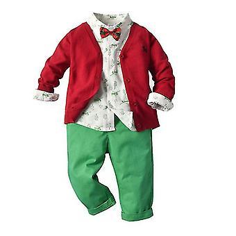 الرضع طفل بنين تعيين طويل الأكمام المطبوعة نمط قميص مع السراويل سترة معطف الحجم 110