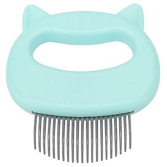 (Green) Cat Dog Massage Shell Comb Grooming Hair Removal Brushes Massaging Shedding