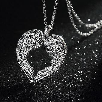 Girls Fashion Romantic Angel Wing Heart Rhinestone Silver Plated Necklace Gift