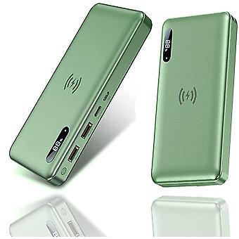 Draagbare lader 30000Mah QC4.0 PD65W Type-C / 15W snelladen draadloze powerbank met LCD-scherm, externe batterij met 4 uitgangen, telefoonlader voor Iphone 12 / Samsu, (groen)