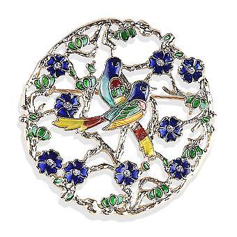 Bross pin rajzfilm két madár fűző kristály festett ötvözet női bross