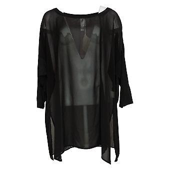 WynneLayers Women's Plus Top Mixed Media Dolman-Sleeve Tunic Black 694604