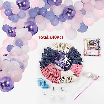 Diy Balloon Garland And Arch Set, 138 Pieces Of Pink, Purple, Blue And White Latex Balloon Set, With Decorative Strips, Glue Dots, Pink Ribbons