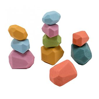 18pcs Rainbow Stone Wooden Toy Building Block Stacking Game Kids