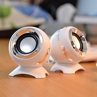 White Wired Mini Computer Speaker Powerful Audio Multimedia Speaker|Computer Speaker