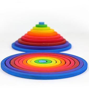 20 sztuk WoodenRainbow Circle Stacking Toys Nordic Style Jenga Educational Toys|