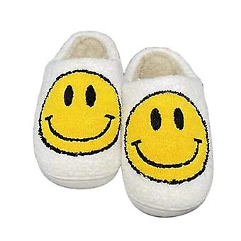 Smiley Face Soft Plush Comfy Warm Slip-on Slippers