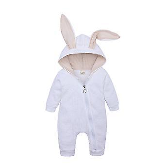 Winter Warm Baby Boys Girls Rabbit 3d Ear Zipper Hooded Romper