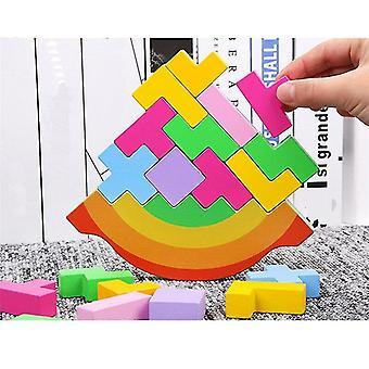 Qian Kolorowa równowaga Zabawki Drewniana wysokość 3d Puzzle Tetris Gra przedszkolna Zagraj w zabawki dla dzieci Prezent|bloki