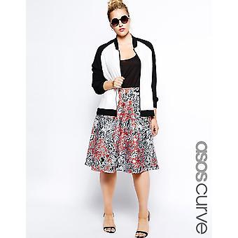 ASOS CURVE Exclusive Midi Skirt In Printed Scuba UK 22