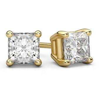0,66 karat Princess Cut Diamond Stud øredobber i 14K gult gull