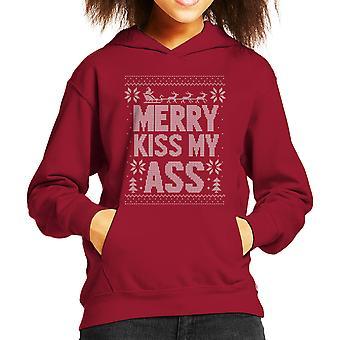 Vrolijk kus die mijn kont kerst brei patroon Kid de Hooded Sweatshirt