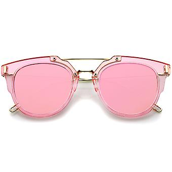 Colorful Fashion Translucent Color Mirrored Flat Lens Pantos Sunglasses 45mm