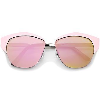 Женщин в полу ОПРАВЫ цвет зеркало плоский объектив Cat глаз очки 58 мм
