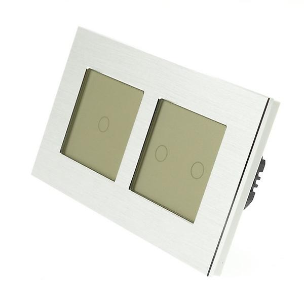 I LumoS Silver Brushed Aluminium Double Frame 3 Gang 1 Way Remote & Dimmer Touch LED Light Switch Gold Insert