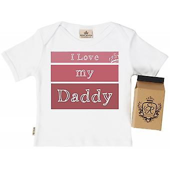 Spoilt Rotten I Love My Daddy Babys T-Shirt 100% Organic In Milk Carton