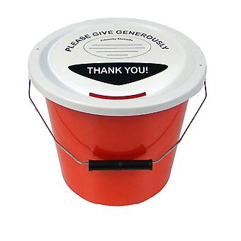 3 Charity Money Collection Buckets 5 Litres - Red