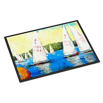Sailboats Round the Mark Indoor or Outdoor Mat 24x36 Doormat