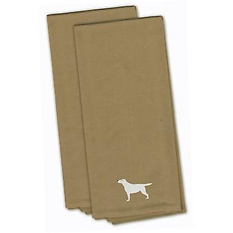 Yellow Labrador Retriever Tan Embroidered Kitchen Towel Set of 2