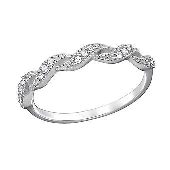Gevlochten - 925 Sterling Zilver Zirkonia ringen - W29249x