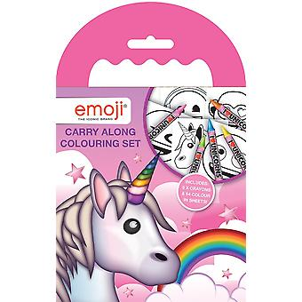 Emoji Unicorn Carry Along Colouring Set with Wax Crayons