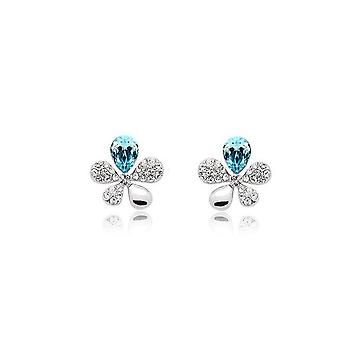 Sky Blue Crystal stenar blomma fjärilar örhängen Womens