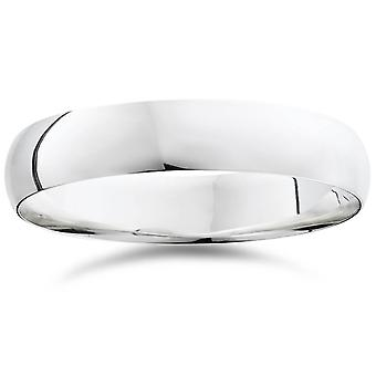 5mm Dome High Polished Wedding Band 10K White Gold