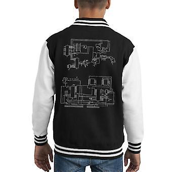 TRS 80 Computer Schematic Kid's Varsity Jacket