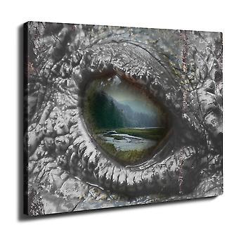 Aligator silmän Wild Wall Art Canvas 40 cm x 30 cm | Wellcoda