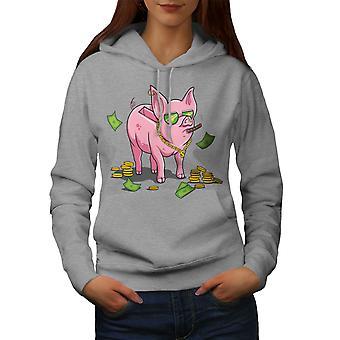 Rich Pig Funy Raha Naiset GreyHoodie | Wellcoda, mitä sinä olet?