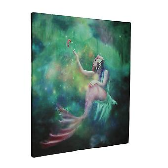 Mermaid Magic LED Lighted Watercolor Style Canvas Wall Decor