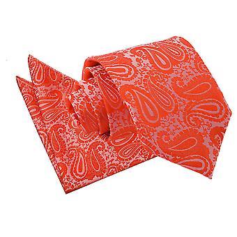 Cravatta con motivo cachemire arancio bruciato & Set Square Pocket