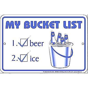 Мой ведро список смешные металлический знак