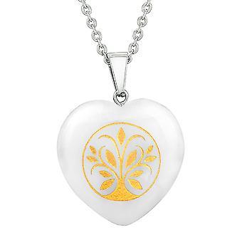 Amulet Tree of Life Magic Powers Protection Energy Snowflake Quartz Puffy Heart Pendant Necklace