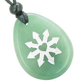 幸運幸運お守り緑のアベンチュリン トーテム宝石石のネックレス ペンダントのチベット仏ホイール