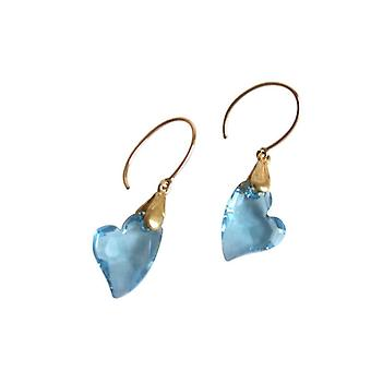 Gemshine Heart Earrings Gold plated Blue MADE WITH SWAROVSKI ELEMENTS®