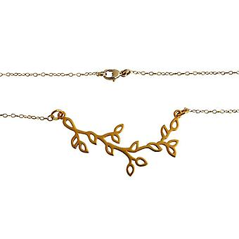 Collar de hojas estilizadas mujeres dama collar plata chapado en oro